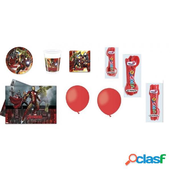 Kit 18 set tavola avengers + cucchiai coltelli forchette e palloncini rossi