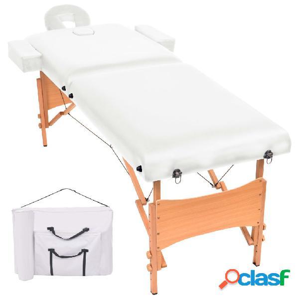 Vidaxl lettino massaggio pieghevole a 2 zone imbottitura 10 cm bianco
