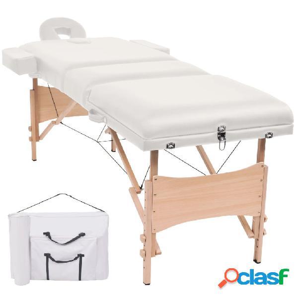 Vidaxl lettino massaggio pieghevole a 3 zone imbottitura 10 cm bianco