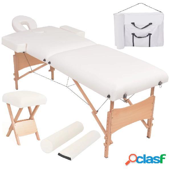 Vidaxl set lettino massaggio pieghevole 2 zone 10 cm e sgabello bianco