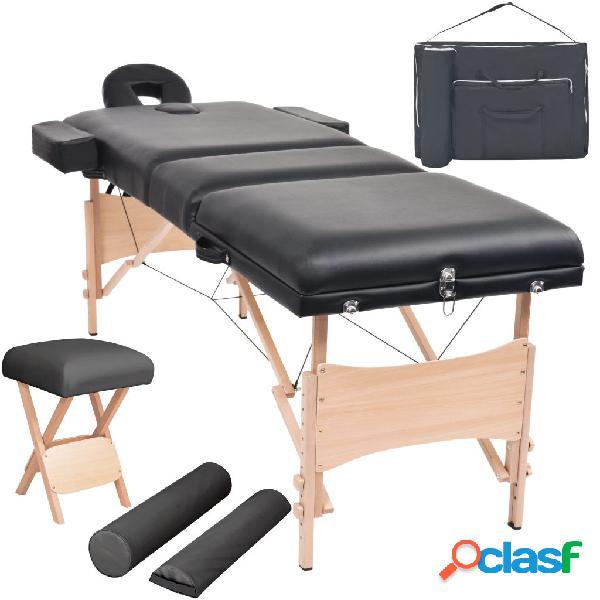 Vidaxl set lettino massaggio pieghevole 3 zone 10 cm e sgabello nero