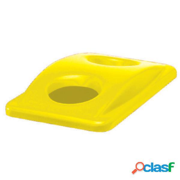 Coperchio due fori per bottiglie/ lattine giallo, peso 0,38 kg