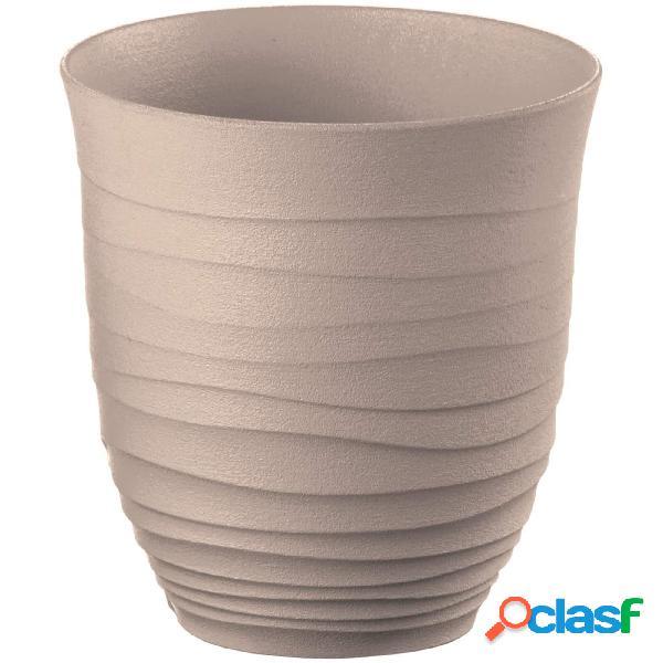 Bicchiere basso, tierra ottenuto riciclando 3,3 botiglie di plastica ø 9xh9,5 cm - 350cc post consumed recycled poliestereastic, grigio tortora