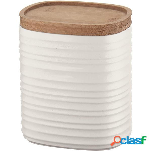 Barattolo realizzati riciclando 7,4 bottiglie di plastica 12.3x9.4x h15 cm - 1000cc con coperchio in legno di bamboo salva freschezza e guarnizione sul tappo bianco latte
