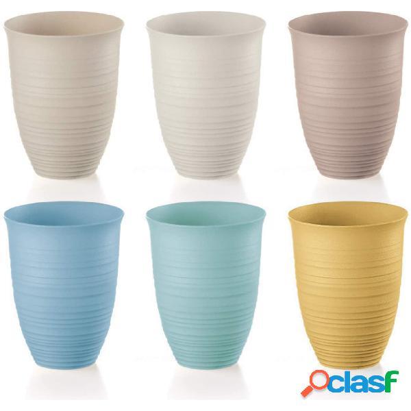 Bicchieri alti, tierra set di 6 dimensioni ø 9,8xh12,4 cm - 520cc ottenuto riciclando 27 bottiglie post consumed recycled poliestereastic, multicolore, 9.8 cm