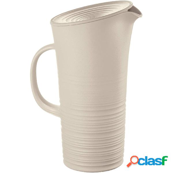 Caraffa con coperchio, tierra realizzata riciclando 20 bottiglie d'acqua 18,7x13,4x10x h26,9 cm - 1800cc post consumed recycled poliestereastic, colore argilla
