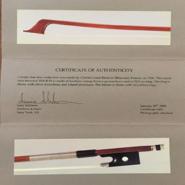Arco da violino Charles Louis Bazin 1930 ca.certificato