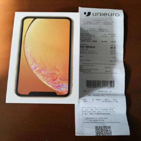 IPhone XR giallo 64gb perfetto con scontrino