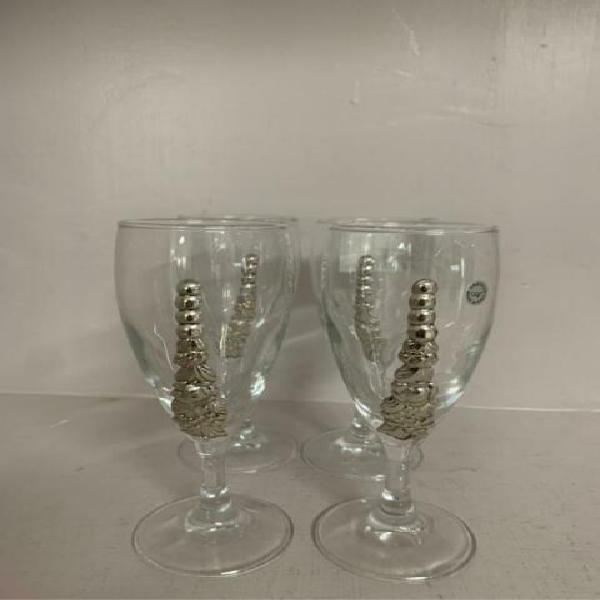 Bicchieri servizio pz. 4 cristallo dec color arg