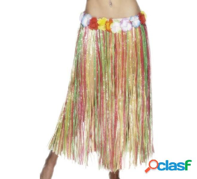Gonna lunga hawaiana multicolore con fiori 79cm