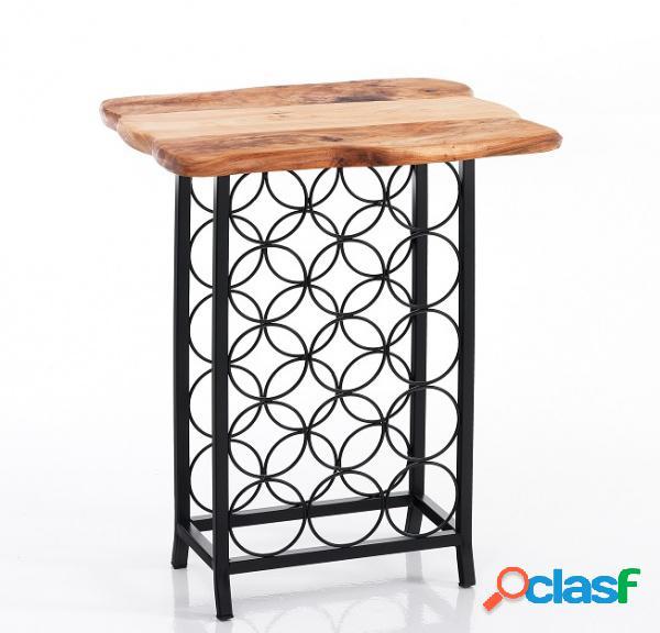 Tavolino in legno massello con cantinetta portavini