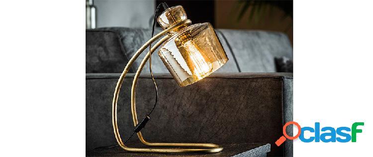 Lampada da tavolo vintage in metallo e vetro ambra loggia