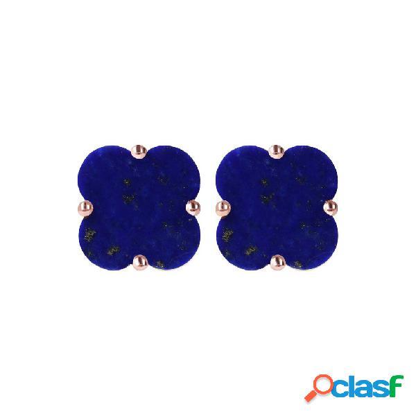 Orecchini quadrifoglio a bottone | rose gold / one size / lapis