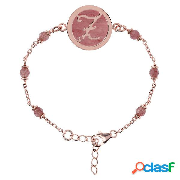 Bracciale iniziale con rodolite | rose gold / f / rodonite