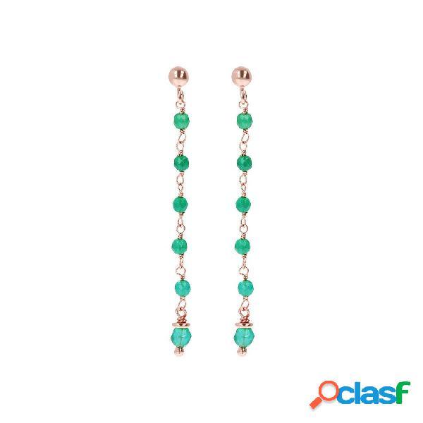 Orecchini pendenti amorette con pietre colorate | rose gold / 5cm / calcedonio verde