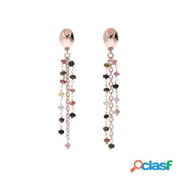 Orecchini pendenti a cascata tormalina e golden rose | rose gold / 7.60cm / tormalina rosario