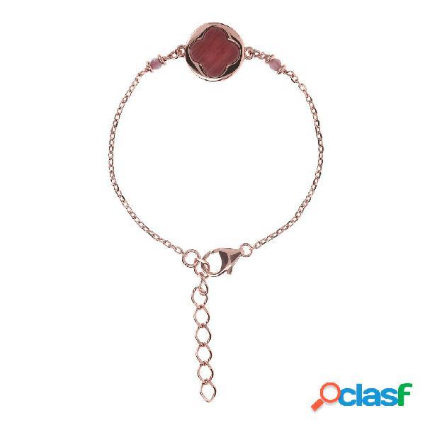 Bracciale portafortuna quadrifoglio alba | rose gold / 16.50cm+3.81cm / rodonite