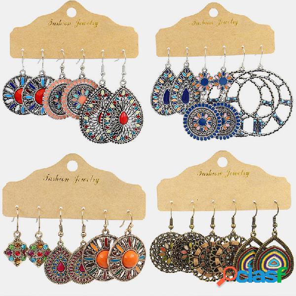 Orecchini pendenti vintage girasole vuoti con orecchini pendenti geometrici bohémien
