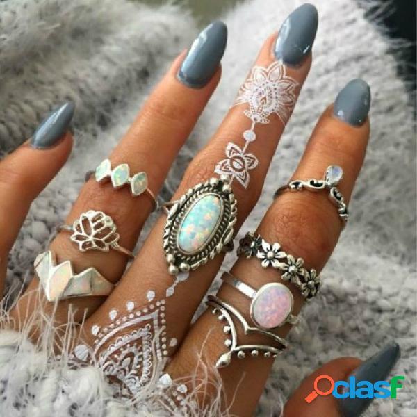 Set di anelli ovali gemme ovali geometriche in metallo con anello di fiori vuoti in metallo