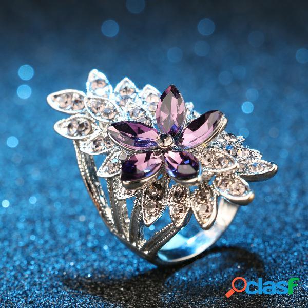 Anello fiore viola gemma stereoscopico geometrico con gemma geometrica di strass vuoti in metallo vintage