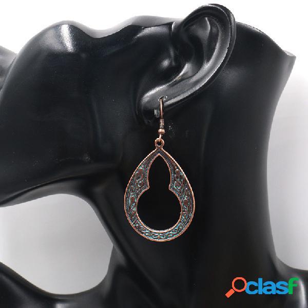 Orecchini pendenti ovali geometrici vintage in metallo orecchini pendenti vuoti in metallo con goccia d'acqua