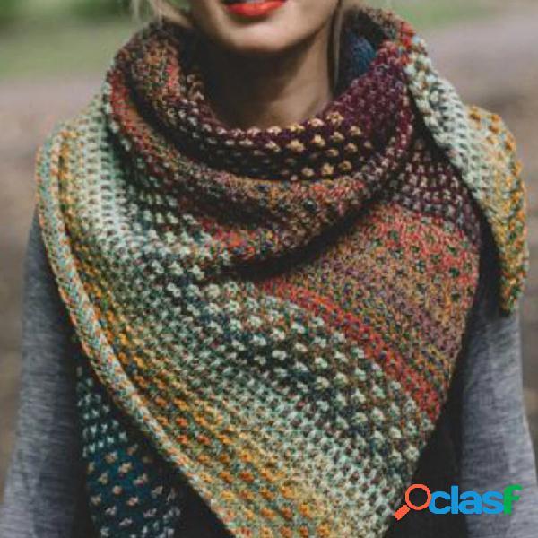 Sciarpe e scialli da donna in misto cotone a blocchi di colore multifarben