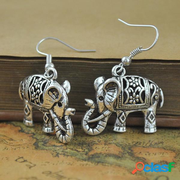 Orecchini vintage intagliati vuoti orecchini pendenti da donna con coniglio elefante a doppia faccia