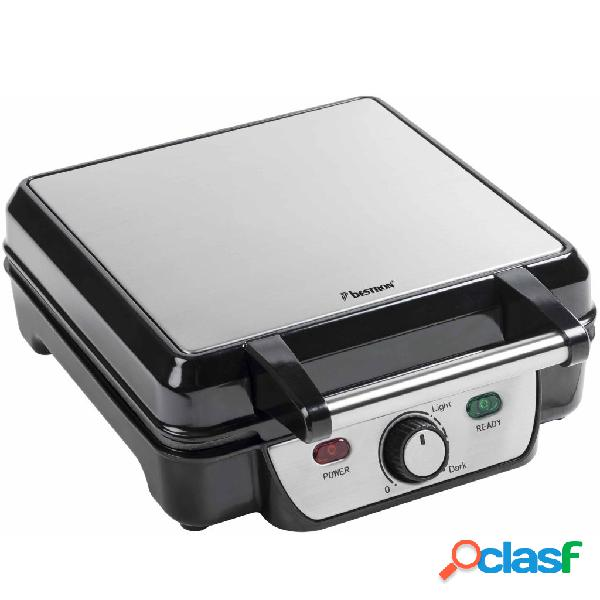 Bestron piastra waffle 1100 w nero argento acciaio inossidabile asw281