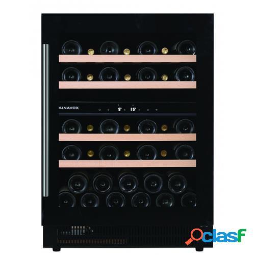 Cantina 2 temperature - free standing o sottopiano, porta full glassnera e maniglia inox - led tricolor - classe a, 39 bottiglie