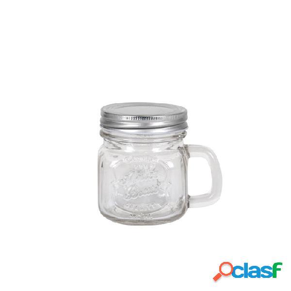 Bicchiere barattolo pitcher in vetro con tappo cl 28 - trasparente