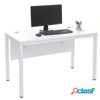Scrivania per computer mester, 120x60x76cm, metallo e legno bianco