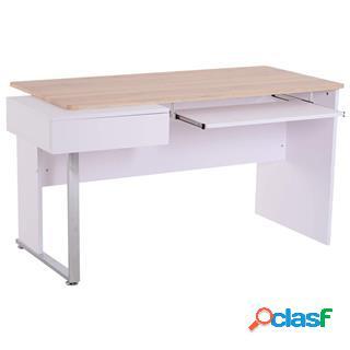 Scrivania per computer fanny, 130x70x75 cm, in legno, bianco e faggio