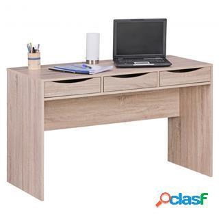 Scrivania per computer abel, misure 120x55x75cm, in legno color rovere