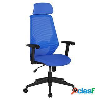 Sedia da ufficio ergonomica erika, schienale in rete traspirante, sostegno lombare, blu