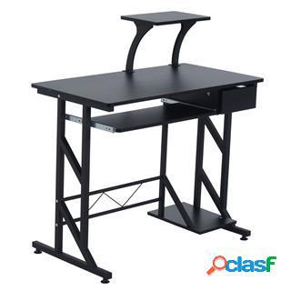 Scrivania computer arnold, ripiano estraibile, 90x50x95cm, legno nero