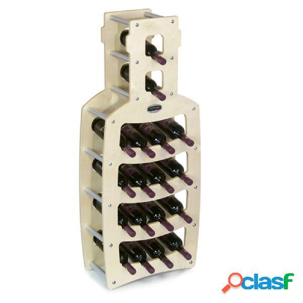 Cantinetta portabottiglie in legno bottiglia 50x25xh120cm 18 bottiglie acero