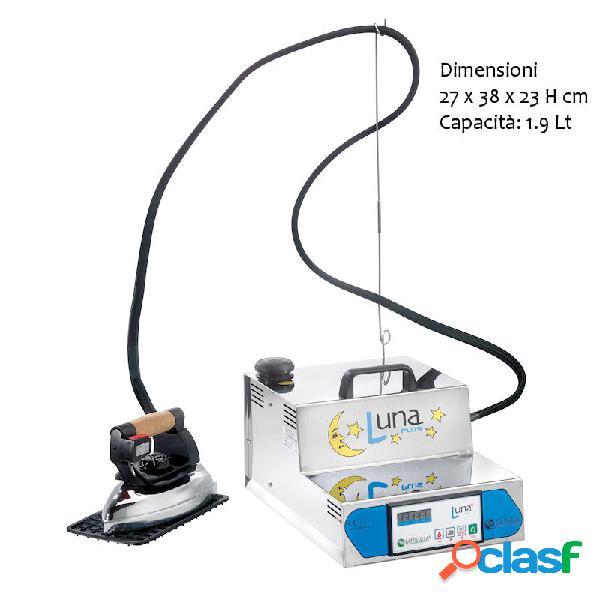 Generatore di vapore luna plus gestione elettronica caldaia 1,9 litri 2-3 ore autonomia stiratura completo di ferro da stiro professionale asta altezza 60 cm valvola regolabile doppia valvola