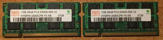 Kit ram 2gb (2x1gb) ddr2 sdram 667 mhz originale apple