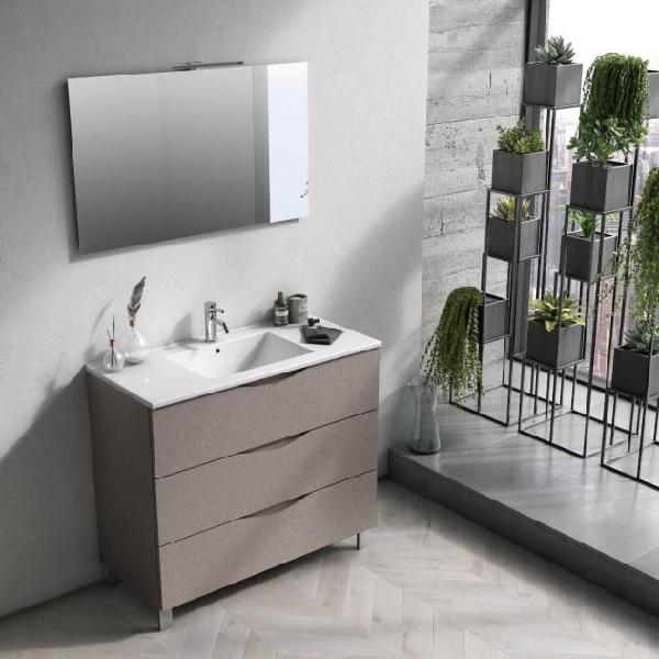 Mobile bagno sospeso 100 cm lavabo specchio e lampada a led