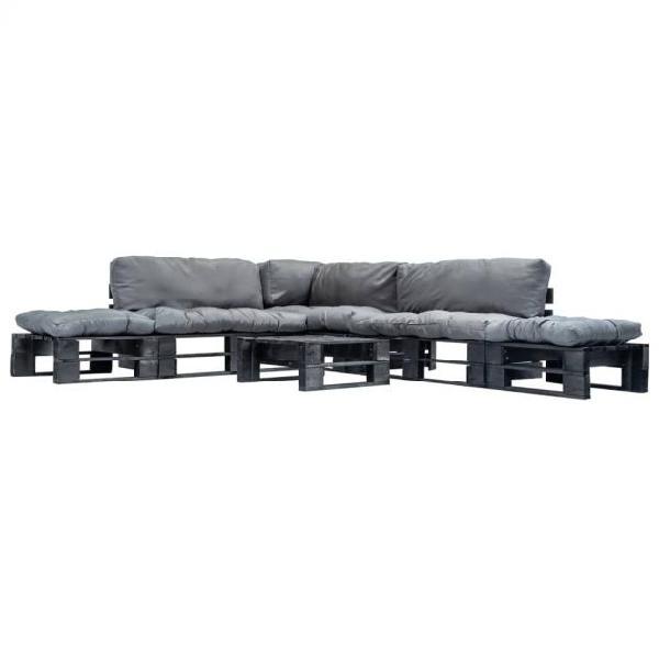 Vidaxl set divani da giardino su pallet 6 pz cuscini grigi