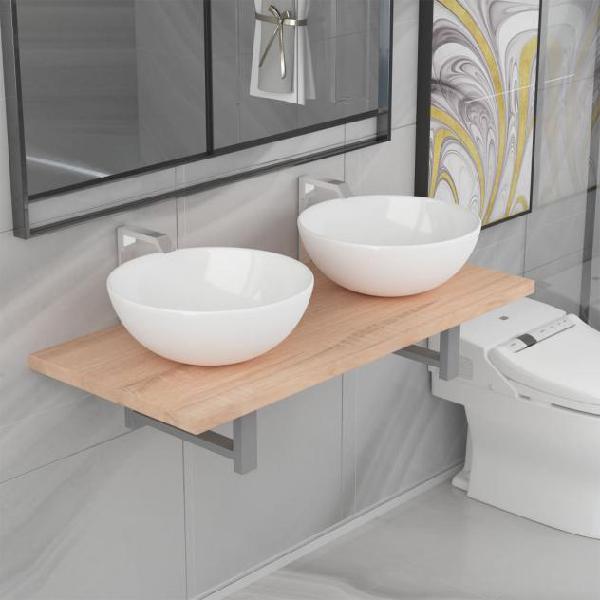 Vidaxl set mobili da bagno 3 pz in ceramica rovere