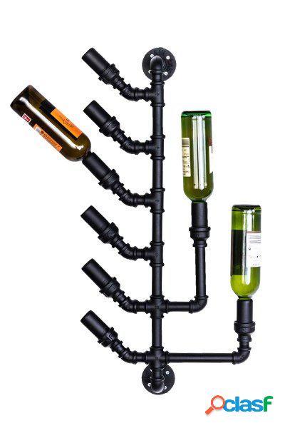 Cantinetta da parete portabottiglie stile industriale tubi idrici