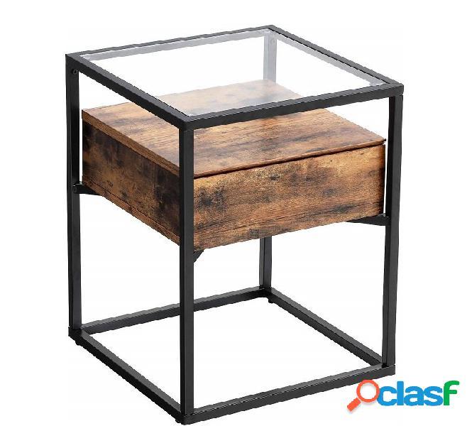 Comodino in stile industriale vintage con piano in vetro e ...