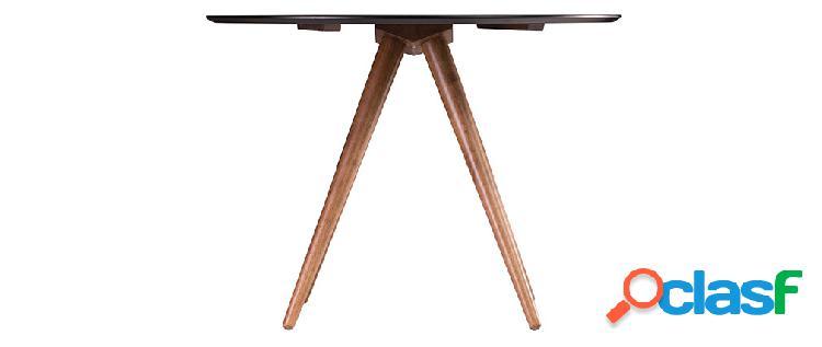 Tavolo da pranzo rotondo design noce e nero d106 walford