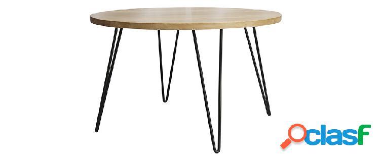 Tavolo da pranzo rotondo in legno massello di mango d116 cm vibes
