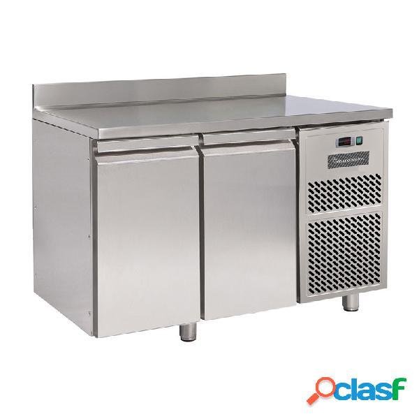 Tavolo frigo - 2 porte con alzatina - prof. 600 mm - temperatura 0°c/+10°c