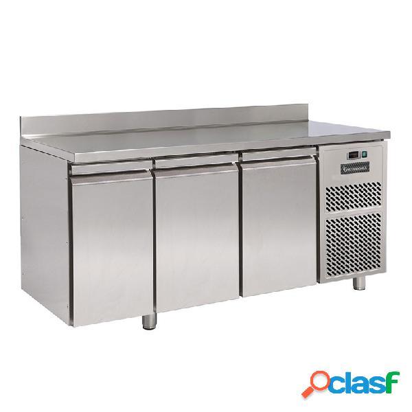 Tavolo frigo con 3 porte e alzatina prof. 700 mm - temperatura 0°c/+10°c