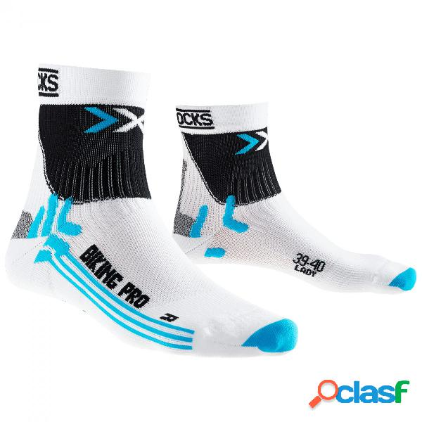 Calze ciclismo x-socks pro donna (colore: bianco-turchese, taglia: 37/38)