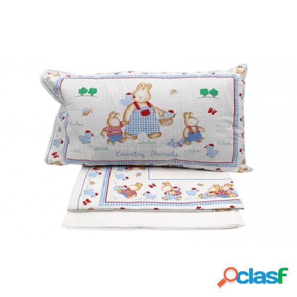 Set biancheria da letto bambini 3 pezzi in cotone stampa family coniglietti per culla: country baby. misura lettino, colore azzurro, tessuto cotone