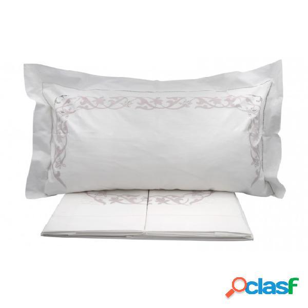 Completo lenzuola in ricamato a mano composto da sopra + sotto + federe - baroca. colore bianco, misura matrimoniale, tessuto cotone, variante baroca